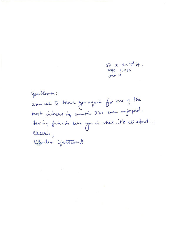 was this thank-you note that Gatewood wrote days after the residency ...