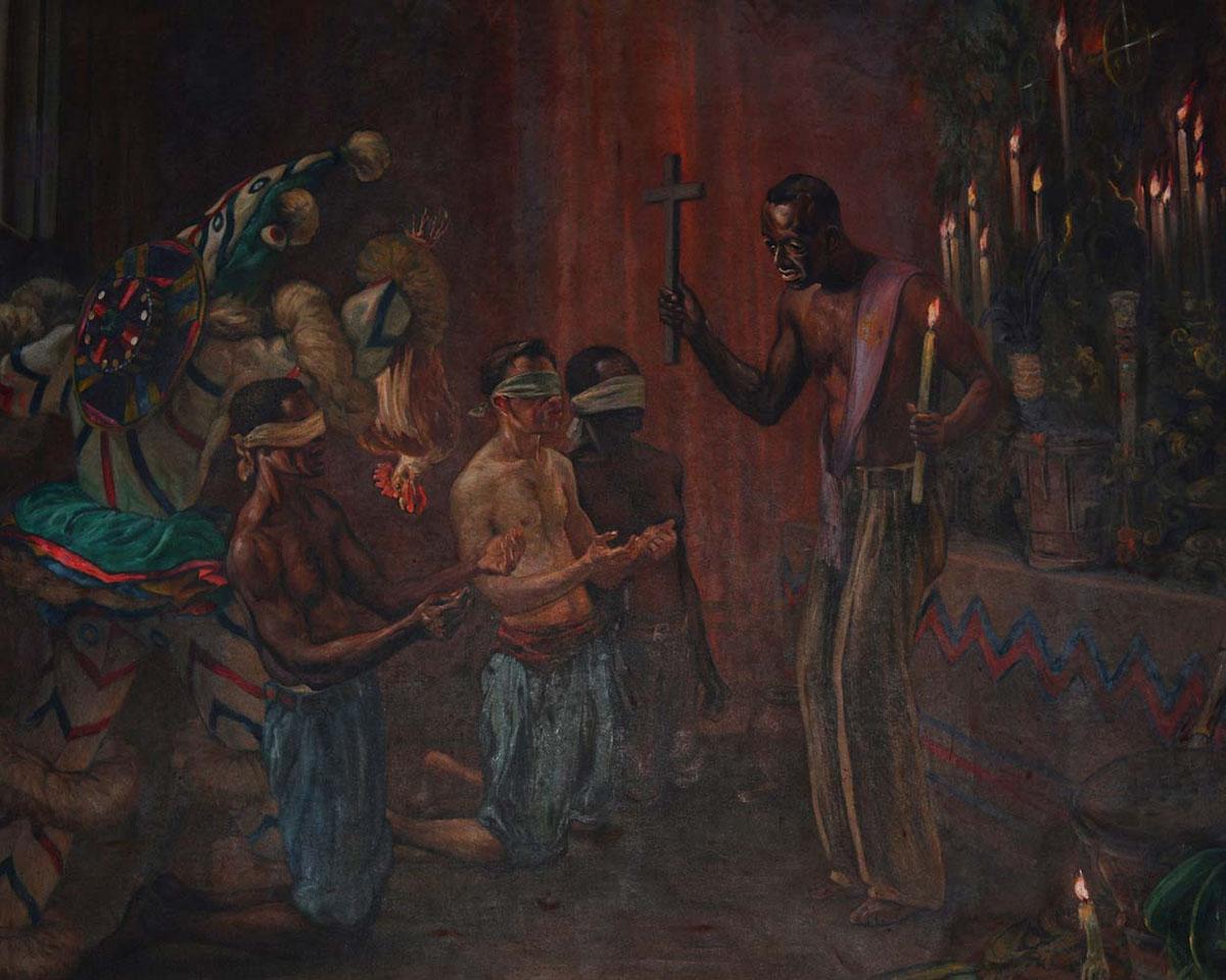 Serment Ñañigo, Tableau de Fernando Taracona Perez, 1943, Museo Historico de Guanabacoa. Guanabacoa.