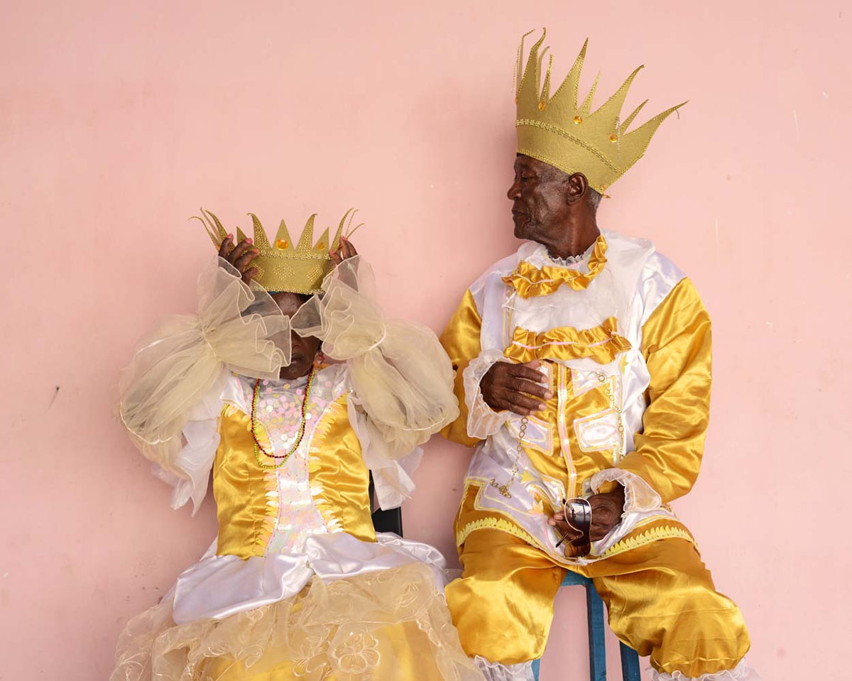 Eba Emerida Augustin and Sergio Ramo, Queen and King of the Carabalí Olugu founded as the Cabildo de Nación Africana in 1783.  Santiago  Carnival.
